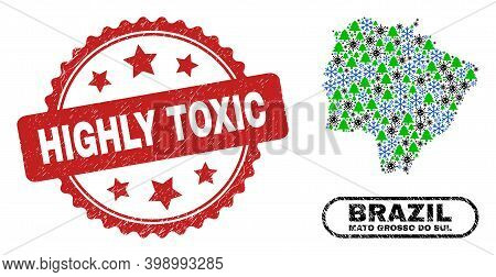 Vector Pandemic New Year Composition Mato Grosso Do Sul State Map And Highly Toxic Corroded Stamp Im