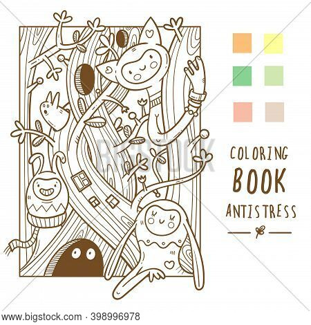 Coloring Book Antistress With Cute Cartoon Funny Creatures. Doodle Print With Monster And Trolls. Li