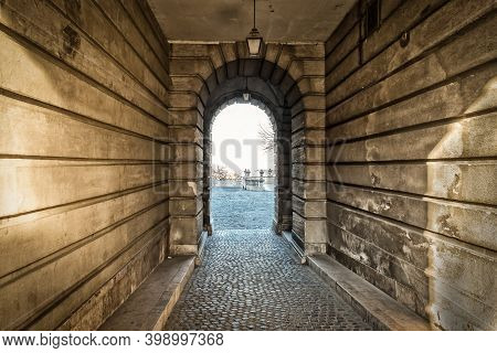Budapest, Hungary, March 2020, View Of A Alleyway In Buda Castle
