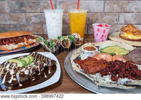Full Table Of Authentic Mexican Food Meals And Beverages For Breakfast Lunch Or Dinner.