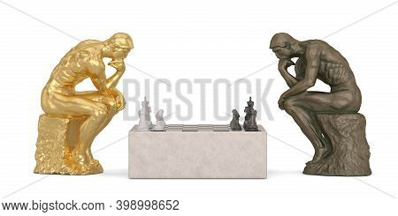 Thinker And Chess Isolated On White Background 3D Illustration.