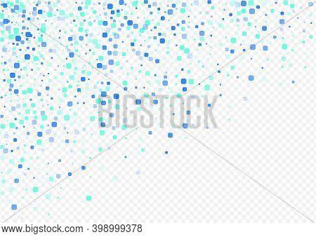 Blue Cell Decoration Vector Transparent Background. Independence Particle Texture. Top Confetti Illu