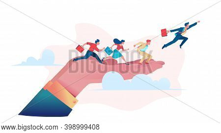 Businessmen Run Along Big Hand And Fly Up Above Clouds. Business Opportunity Concept. Metaphor Of Sp