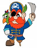 Pirate with parrot and sabre - vector illustration. poster