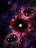 web of solar system on dark background poster