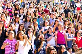 Crowd of children having fun