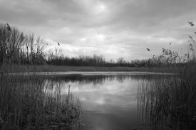 Winter Lake with Ominous Clouds