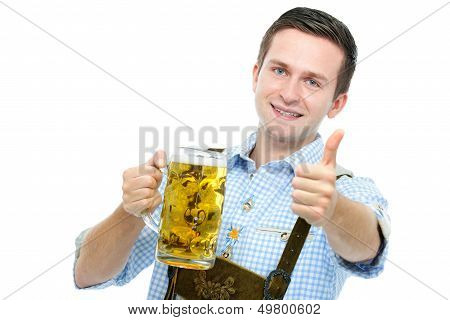 Young Mqan With A Oktoberfest Beer Stein