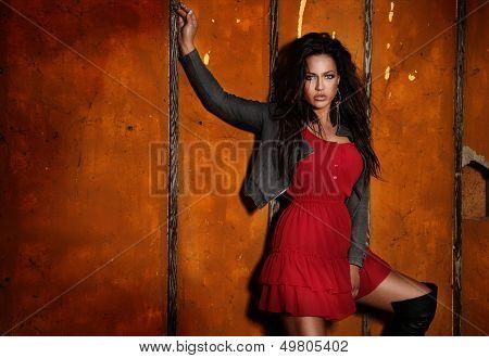 Fashionable Brunette Girl Posing.