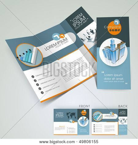 Professional business three fold flyer template, corporate brochure or cover design in blue color, can be use for publishing, print and presentation.