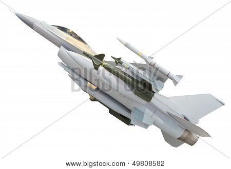 Military Jet Plane With Full Weapon Missile  Isolated On White