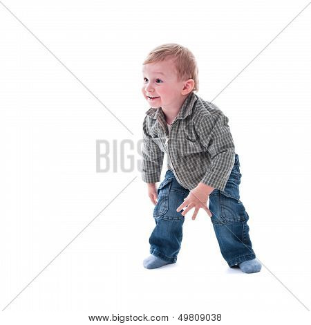 Cute playful one year toddler isolated on white background poster