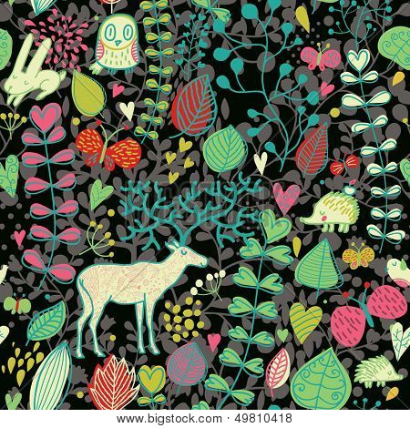 Autumn seamless pattern with leafs, flowers, owl, rabbit, hedgehog, butterflies and deer. Cute cartoon wallpaper in dark colors