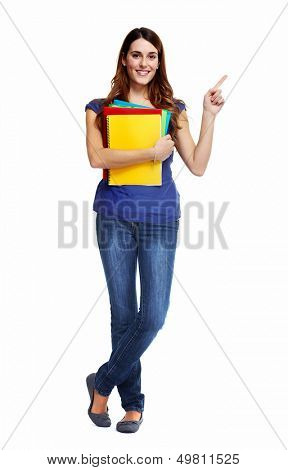 Standing student woman. Isolated on white background.
