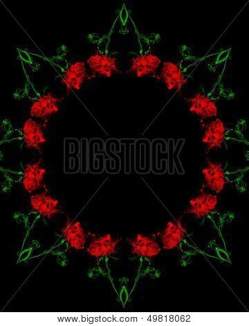 Smoky red rose frame