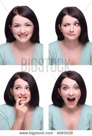 Beautiful Brunette Passport Photo Style Range Of Expressions.
