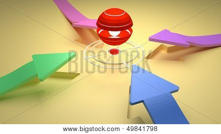 Target - Center Point With Four Direction Colorful Arrows