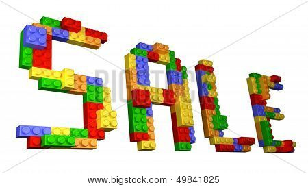 Sale - Straight Wording Constructed From Glossy Bricks In Isolated White Background