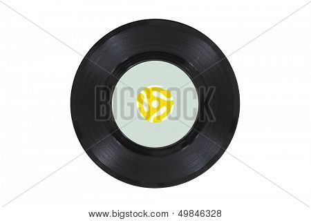 Vintage 45 rpm vinyl phonograph with yellow record player adapter.