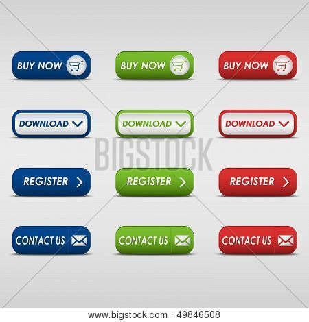 Collection of colored rectangular buttons