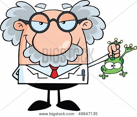 Mad Scientist Or Professor Holding A Frog