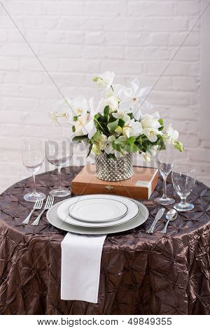 Brown Wedding Reception Table Setting