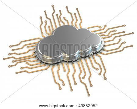 Processor or chip on white background. Cloud computing.  3d