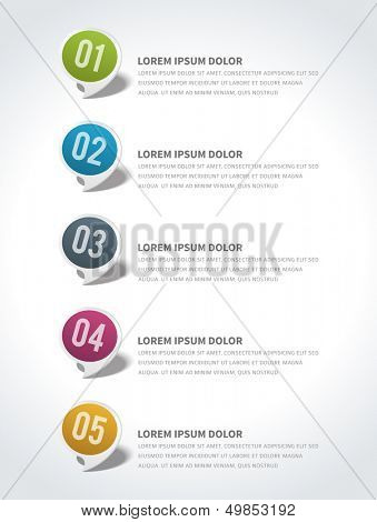 Infographics options design elements. Vector illustration. Round banner numbers and icons website eps 10.  poster