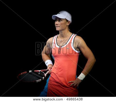 MELBOURNE, AUSTRALIA - JANUARY 23: Samantha Stosur of Australia in her third round win over Alberta Brianti of Italy in the 2010 Australian Open on January 23, 2010 in Melbourne, Australia