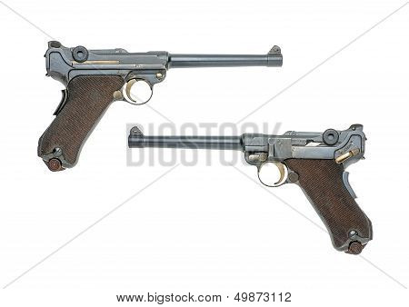 German navy pistol Model 1904 on a white background