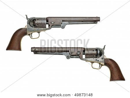 antique american Colt Navy percussion revolver on a white background