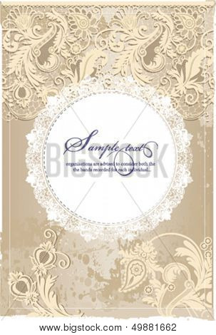 Flower circle design on grunge background with lace ornament. Eps 10 file with transparencies and drop shadow(banner).