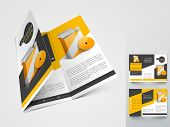 Professional business three fold flyer template, corporate brochure or cover design in yellow and black color, can be use for publishing, print and presentation.  poster