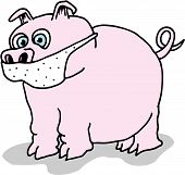 Illustration of a pig wearing a mask to avoid Swine Flu. poster