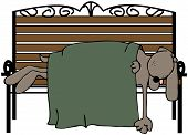 This illustration depicts a dog asleep on a park bench. poster