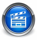 Cinema Icon On Glossy Blue Round Button poster