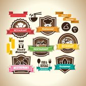 Collection of vintage retro grunge food, beverage and restaurant labels, badges and icons. poster