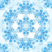 Blue ornate vector lacy seamless pattern. This is file of EPS10 format. poster