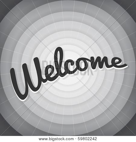 Welcome typography BW old movie screen vector poster