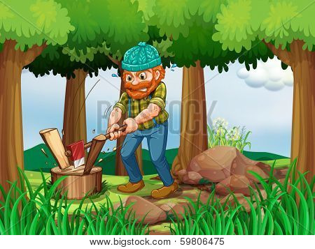 Illustration of a tired woodman chopping the woods in the forest