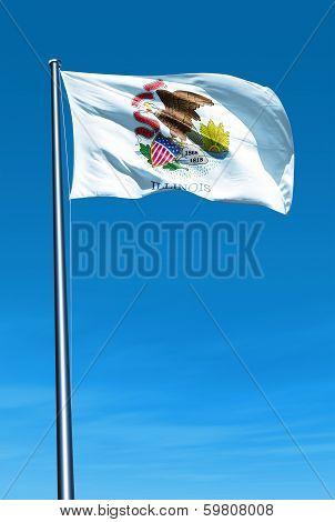 Illinois (USA) flag waving on the wind