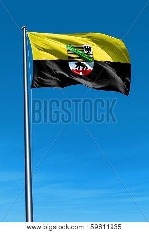 Saxony-Anhalt (GER) flag waving on the wind