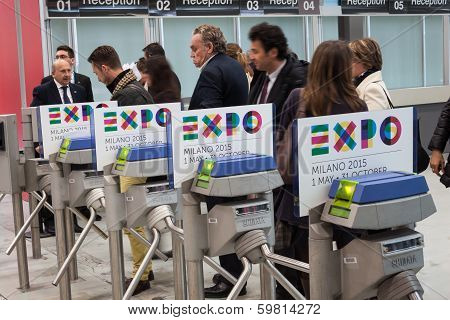 Turnstiles With Expo 2015 Logo At Bit 2014, International Tourism Exchange In Milan, Italy