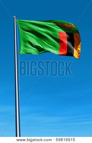 Zambia flag waving on the wind