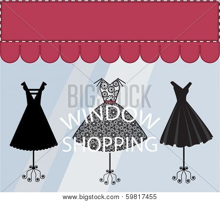 Window Shopping Black Dresses Banner with Copyspace