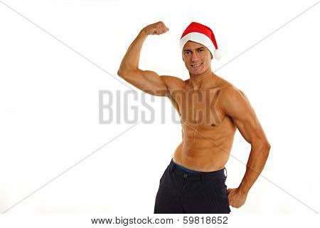 Atletic sexy Santa Claus shows biceps on white backgroung poster