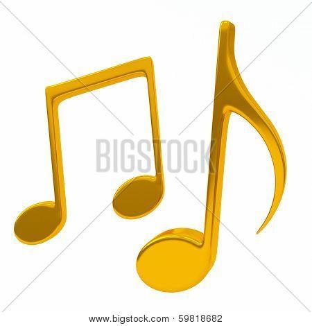 Golden musical notes, 3d