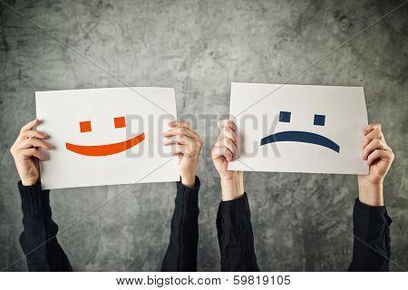 Happy And Sad Face.