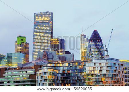 he modern glass buildings of the Swiss Re Gherkin on July 28, 2007 in London