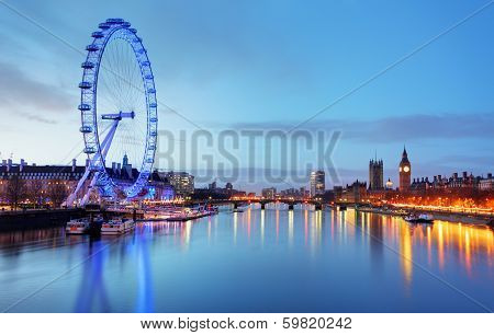 London, United Kingdom - June 19: London Eye On June 19, 2013 In London, United Kingdom Is The Talle